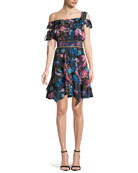 Meegan Dutch Garden Off-the-Shoulder Floral-Print Mini Dress