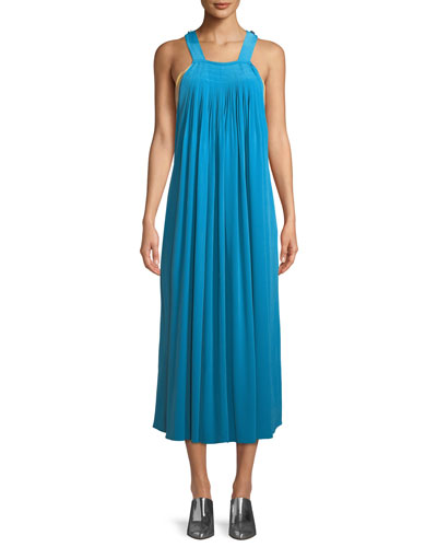 Arielle Sleeveless Silk Shift Overall Dress