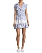 Olya Sleeveless Striped Embroidered Dress