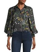 Dagna Button-Down Floral-Print Top