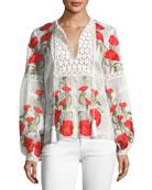 Dorit Split-Neck Long-Sleeve Floral-Embroidered Top