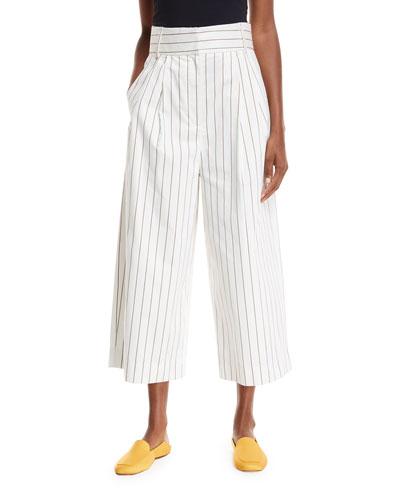 Sateen Stripe Wide-Leg Crop Pants