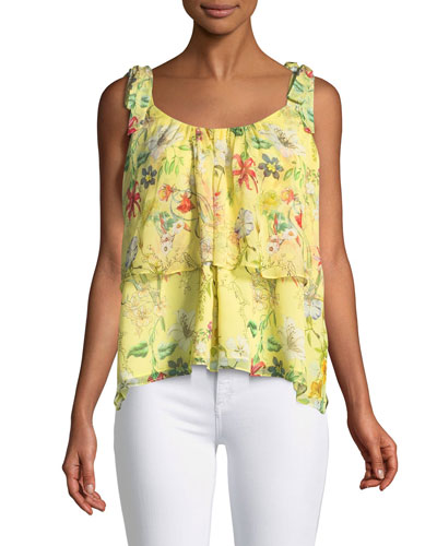 Percy Scoop-Neck Floral-Print Silk Top