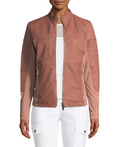 Erin Perforated Leather Jacket
