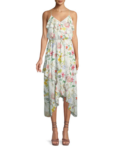 Vanna V-Neck Floral-Print Silk Chiffon Dress
