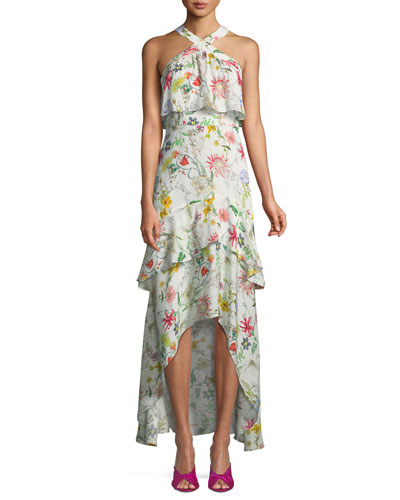 Fillipa Floral-Print Silk Combo Halter Dress