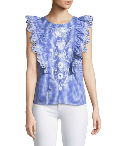 Emele Embroidered Gingham Top