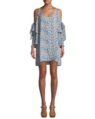 Aryanna V-Neck Cold-Shoulder Floral-Print Silk Dress