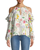 Abby Cold-Shoulder Floral-Print Silk Blouse