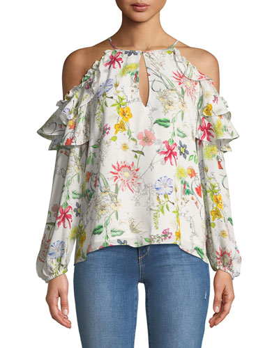 Abby Cold-Shoulder Floral-Print Silk Blouse