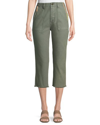 The Straight-Leg Cropped Cotton Army Pants