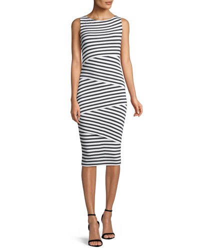 Sleeveless Layered-Stripe Fitted Column Dress