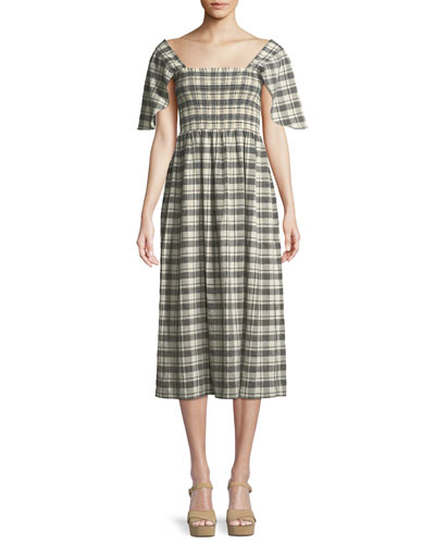 The Gimlet Plaid Cotton-Linen Midi Dress