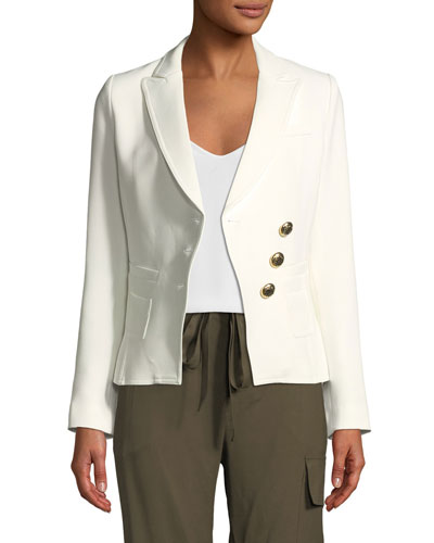 Double-Breasted Three-Button Wrap Blazer
