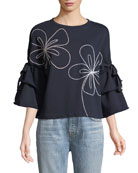 Oamara Crewneck Floral-Topstitch Cotton Sweatshirt