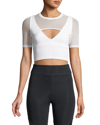 Clemence Half-Sleeve Fitted Crop Top