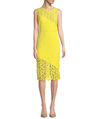 633ad46fad Scalloped Trim Sheath Silhouette Dress | Neiman Marcus