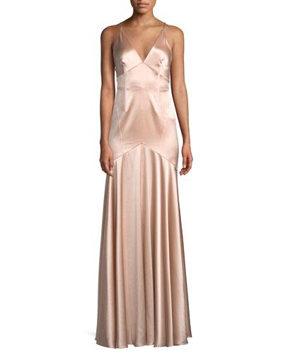 Satin V-Neck Sleeveless Corset Gown