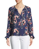 Long-Sleeve Floral-Print Peasant Top