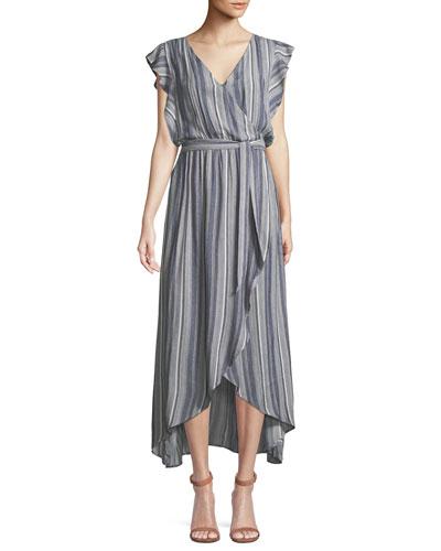 Striped Tulip-Sleeve Chambray Maxi Dress