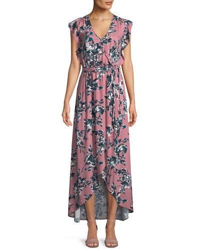 Floral-Print Tulip-Sleeve Maxi Dress