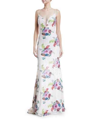 Floral Sequin Gown w/ Open Back