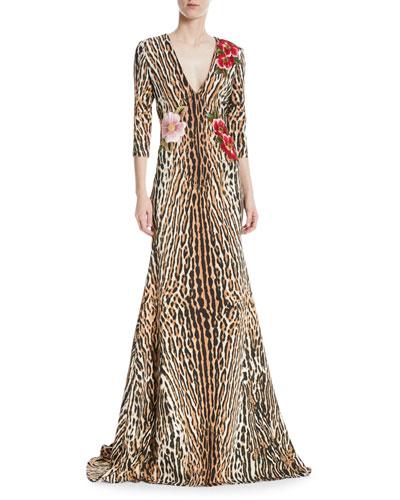 Leopard & Floral V-Neck Trumpet Gown