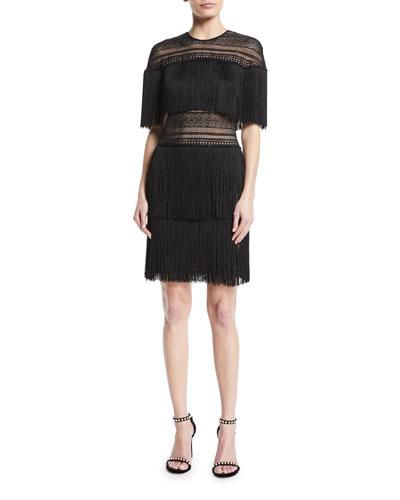 Three-Tier Fringe Mini Dress