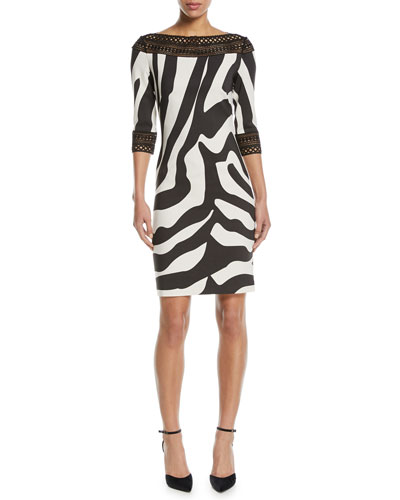 Zebra-Stripe Sheath Cocktail Dress w/ Lace Trim