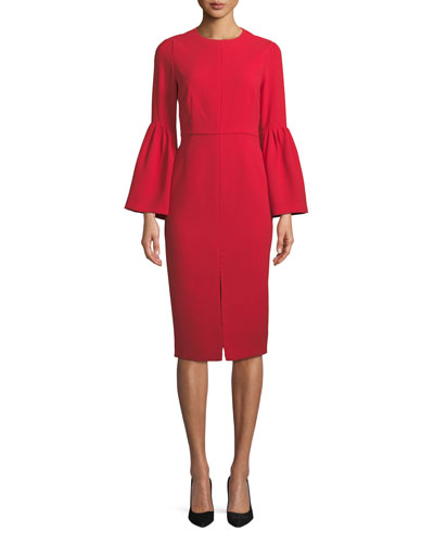 Bell-Sleeve Slit-Front Sheath Cocktail Dress