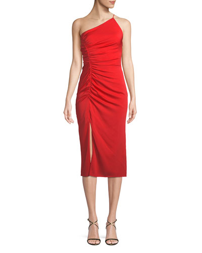 Ashton One-Shoulder Stretch Silk Cocktail Dress