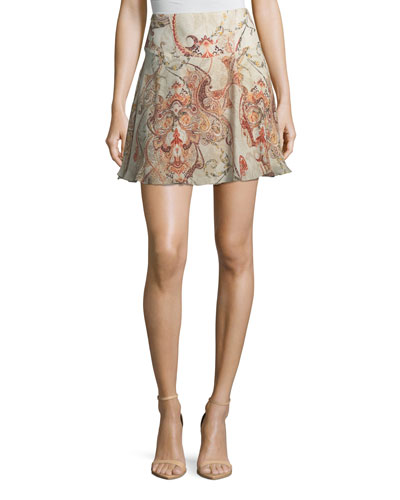 Faye Damask-Print Silk Mini Skirt