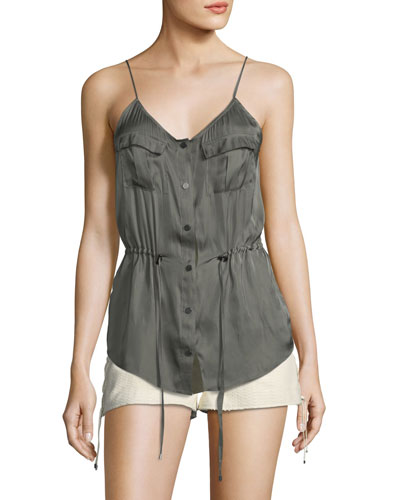 Getaway Snap-Front Satin Camisole