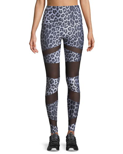 Bondage Leopard-Print High-Rise Mesh Leggings
