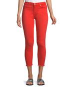 Ankle Skinny Jeans w/ Frayed Hem