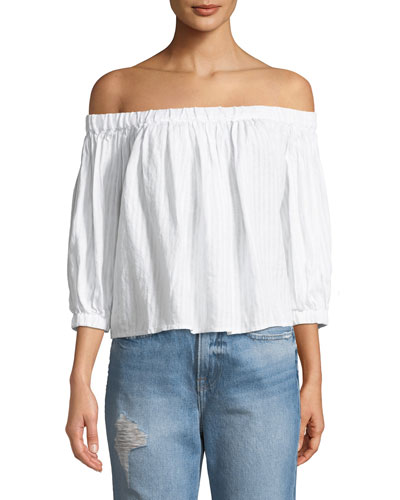 bb6c6d52658e Quick Look. FRAME · Embroidered Off-the-Shoulder Linen Top. Available in  White