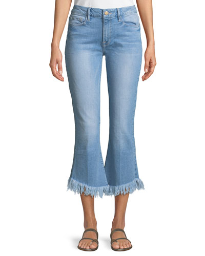 Le Crop Mini Boot Shredded Raw Jeans