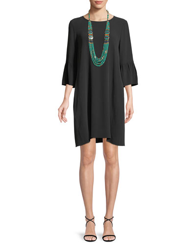 Flutter-Sleeve Silk Shift Dress, Petite