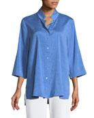 Doupioni Stand-Collar Silk Shirt, Petite