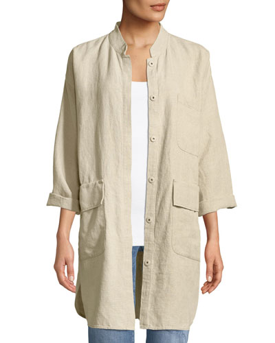 Organic Linen Mandarin-Collar Jacket, Petite
