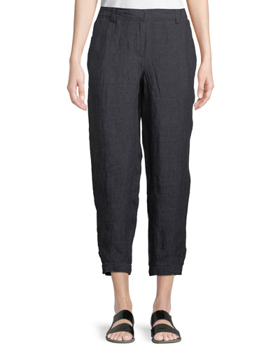 Denim-Wash Linen Ankle Pants