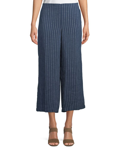Pinstriped Denim Wide-Leg Cropped Pants