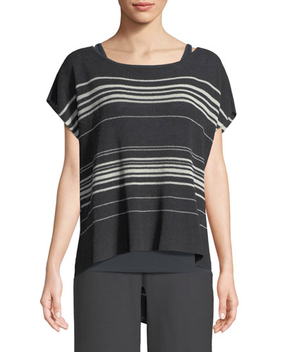 Striped Short-Sleeve Poncho Top, Plus Size