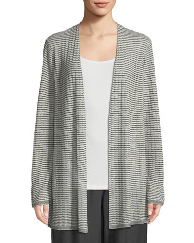 Organic Linen-Blend Striped Cardigan, Plus Size