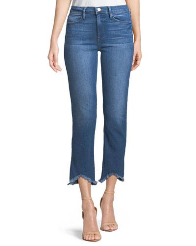 Le High Distressed Cropped Straight-leg Jeans - Mid denim Frame Denim RBLmajwv