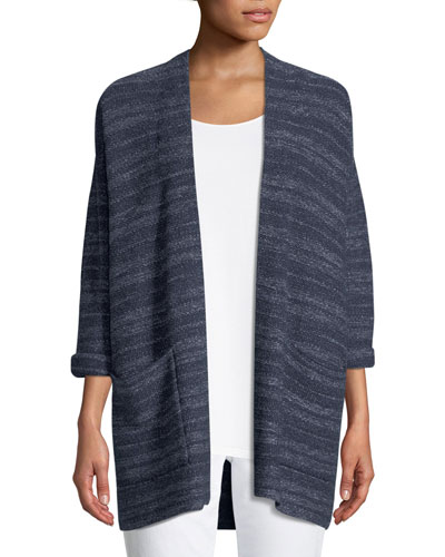 Striped Denim Kimono Cardigan, Plus Size