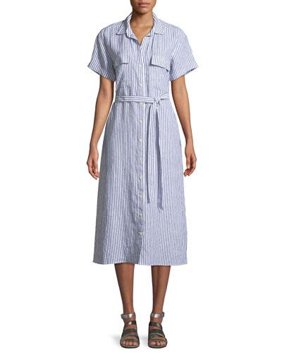 Button-Down Short-Sleeve Striped Linen Shirtdress