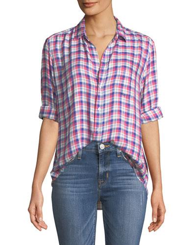 Eileen Long-Sleeve Plaid Button-Down Shirt