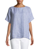 Check Linen Short-Sleeve Top