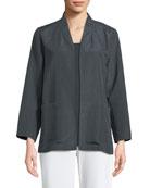 Grid-Pattern Silk-Blend Jacket
